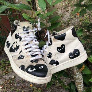 Comme des garçon play x converse leather sneakers
